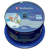 Verbatim Blu-ray BD-R Datalife 25GB 6x wide Inkjet Printable 50 pack Spindle 43812