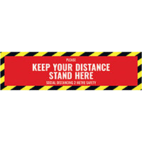 Social Distance Floor Sticker 500x130mm Pack of 5 Socialstick02