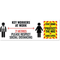 Social Distance Key Worker Sticker 450mm Pack of 5 Keyworkerstick01