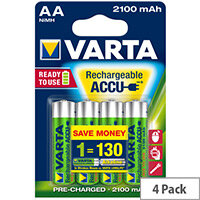 VARTA AA Rechargeable Accu Battery NiMH 2100 mAh (Pack of 4)