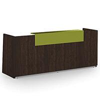 Libra Minimalist Design Dark Walnut Reception Desk With Green Acrylux Counter Top Panel W2600xD850xH1060mm