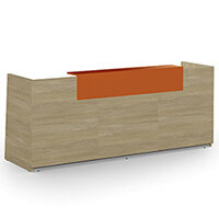 Libra Minimalist Design Urban Oak Reception Desk With Orange Acrylux Counter Top Panel W2600xD850xH1060mm