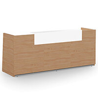 Libra Minimalist Design Beech Reception Desk With Icy White Acrylux Counter Top Panel W2600xD850xH1060mm