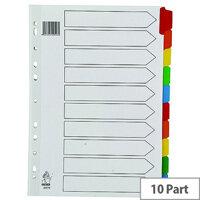 A4 Mylar Subject Divider 10-Part Multi-Colour WX01526