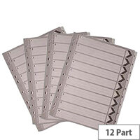 A4 Mylar Index 1-12 White Subject Divider WX01529