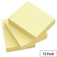 Yellow Note Repositionable Pad 40x50mm WX10500