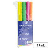 Highlighter Pens Assorted Colours Wallet Pack of 4 WX93206