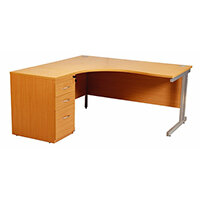 Radial Right Handed Desk With 3 Drawer Fixed Pedestal