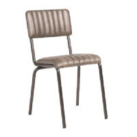 CORE Side Chair - Ribbed Lascari Faux Leather - Vintage Silver