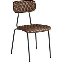 Kara Side Chair – Diamond Stitched - Vintage Brown