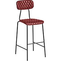 Kara Bar Stool – Diamond Stitched - Vintage Red