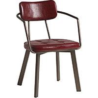 Auzet Armchair - Aged Metal - Vintage Red