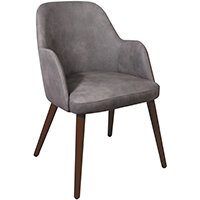 Aztec Armchair - Faux Leather - Steel Grey Vintage Elegance