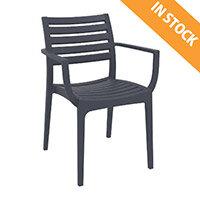 ARTEMIS Arm Chair - Stackable - Max. Weight  Capacity 160kg - Dark Grey - Outdoor & Indoor