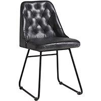 Harland Side Chair - Leather - Vintage Black