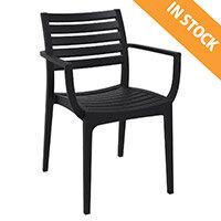 ARES Arm Chair - Stackable - Polypropylene - Indoor & Outdoor - Black