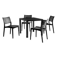 Ares Dining Set Black Table & Chairs - Suitable for Indoor & Outdoor Use