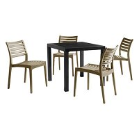 Ares Dining Set Black Table & Taupe Chairs - Suitable for Indoor & Outdoor Use