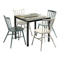 Spin Dining Set with Extrema Driftwood 4 Leg Table & 4 Spin Dining Chairs - Suitable for Indoor & Outdoor Use