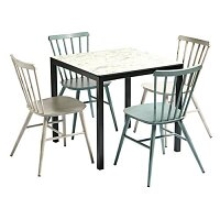 Spin Dining Set with Extrema Carrara Marble 4 Leg Table & 4 Spin Dining Chairs - Suitable for Indoor & Outdoor Use