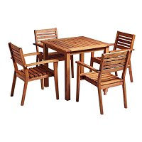 More Square Dining Set - 4 x More Armchair - Rectangular Dining Table 750 x 800mm