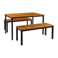 ICE Bench Dining Set - 2 x Ice Benches 450 x 1100mm - Ice Rectangular Dining Table 740 x 1200mm - Powder Coated Black Base - Robinia Wood Table & Bench Top