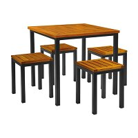 ICE Low Stool Dining Set - 4 x Low Stool 450 x 350mm  - Ice Square Dining Table 740 x 800mm - Powder Coated Black Base - Robinia Wood Table & Stool Tops