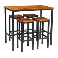 ICE High Stool Dining Set - 4 x Ice High Stools 800 x 350mm - Ice Rectangular Poseur Table 1090 x 1200mm - Powder Coated Black Base - Robinia Wood Table & Stool Tops