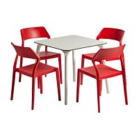 Snow Dining Set White Table & Red Chairs - Suitable for Indoor & Outdoor Use