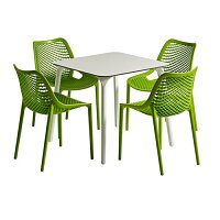 Air Dining Set White Table & 4 Tropical Green Stacking Chairs - Suitable for Indoor & Outdoor Use