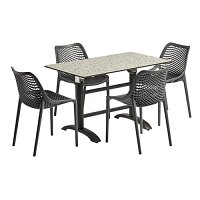 Air Dining Set Vintage Teal Flip Top Table & 4 Dark Grey Chairs Suitable for Indoor & Outdoor Use
