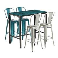 Marcel Poseur Set - 4 x Chairs - Rectangular Table - 2 x Gun Metal & 2 x Blue Chairs - Extrema Metallic Table 1080 x 1190mm