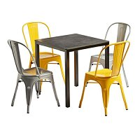 Marcel Dining Set  - 4 x Chairs - Square Table - 2 x Gun Metal & 2 x Yellow Chairs - Extrema Metallic Table  730 x 790mm