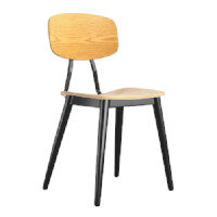 JUNA Side Chair - Plywood & Black Steel - Indoor - Natural Oak