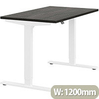 Zoom Height Adjustable Sit Stand Office Desk Plain Top W1200mmxD700mmxH685-1185mm Carbon Walnut Top White Frame - Prevents & Reduces Muscle & Back Problems, Poor Circulation & Increases Brain Activity.