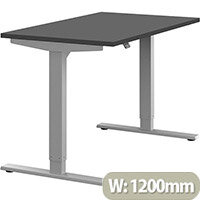 Zoom Height Adjustable Sit Stand Office Desk Plain Top W1200mmxD700mmxH685-1185mm Graphite Top Silver Frame - Prevents & Reduces Muscle & Back Problems, Poor Circulation & Increases Brain Activity.
