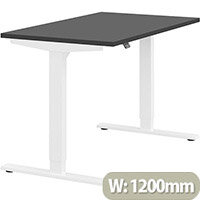 Zoom Height Adjustable Sit Stand Office Desk Plain Top W1200mmxD700mmxH685-1185mm Graphite Top White Frame - Prevents & Reduces Muscle & Back Problems, Poor Circulation & Increases Brain Activity.