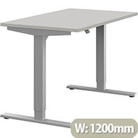 Zoom Height Adjustable Sit Stand Office Desk Plain Top W1200mmxD700mmxH685-1185mm Grey Top Silver Frame - Prevents & Reduces Muscle & Back Problems, Poor Circulation & Increases Brain Activity.