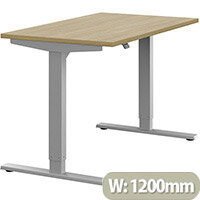 Zoom Height Adjustable Sit Stand Office Desk Plain Top W1200mmxD700mmxH685-1185mm Urban Oak Top Silver Frame - Prevents & Reduces Muscle & Back Problems, Poor Circulation & Increases Brain Activity.
