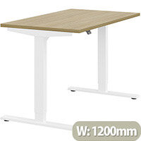 Zoom Height Adjustable Sit Stand Office Desk Plain Top W1200mmxD700mmxH685-1185mm Urban oak Top White Frame - Prevents & Reduces Muscle & Back Problems, Poor Circulation & Increases Brain Activity.