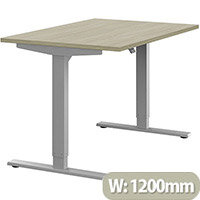 Zoom Height Adjustable Sit Stand Office Desk Plain Top W1200mmxD800mmxH685-1185mm Arctic Oak Top Silver Frame - Prevents & Reduces Muscle & Back Problems, Poor Circulation & Increases Brain Activity.
