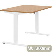 Zoom Height Adjustable Sit Stand Office Desk Plain Top W1200mmxD800mmxH685-1185mm Beech Top White Frame - Prevents & Reduces Muscle & Back Problems, Poor Circulation & Increases Brain Activity.