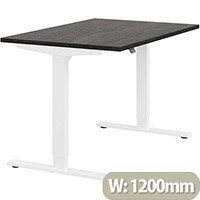Zoom Height Adjustable Sit Stand Office Desk Plain Top W1200mmxD800mmxH685-1185mm Carbon Walnut Top White Frame - Prevents & Reduces Muscle & Back Problems, Poor Circulation & Increases Brain Activity.