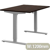 Zoom Height Adjustable Sit Stand Office Desk Plain Top W1200mmxD800mmxH685-1185mm Dark Walnut Top Silver Frame - Prevents & Reduces Muscle & Back Problems, Poor Circulation & Increases Brain Activity.
