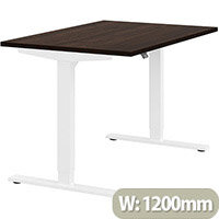 Zoom Height Adjustable Sit Stand Office Desk Plain Top W1200mmxD800mmxH685-1185mm Dark Walnut Top White Frame - Prevents & Reduces Muscle & Back Problems, Poor Circulation & Increases Brain Activity.
