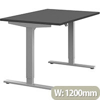 Zoom Height Adjustable Sit Stand Office Desk Plain Top W1200mmxD800mmxH685-1185mm Graphite Top Silver Frame - Prevents & Reduces Muscle & Back Problems, Poor Circulation & Increases Brain Activity.