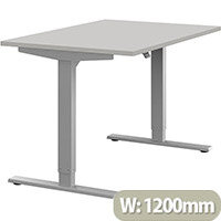 Zoom Height Adjustable Sit Stand Office Desk Plain Top W1200mmxD800mmxH685-1185mm Grey Top Silver Frame - Prevents & Reduces Muscle & Back Problems, Poor Circulation & Increases Brain Activity.