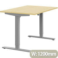 Zoom Height Adjustable Sit Stand Office Desk Plain Top W1200mmxD800mmxH685-1185mm Maple Top Silver Frame - Prevents & Reduces Muscle & Back Problems, Poor Circulation & Increases Brain Activity.
