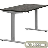 Zoom Height Adjustable Sit Stand Office Desk Plain Top W1400mmxD700mmxH685-1185mm Carbon Walnut Top Silver Frame - Prevents & Reduces Muscle & Back Problems, Poor Circulation & Increases Brain Activity.