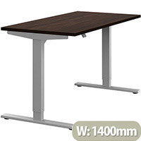 Zoom Height Adjustable Sit Stand Office Desk Plain Top W1400mmxD700mmxH685-1185mm Dark Walnut Top Silver Frame - Prevents & Reduces Muscle & Back Problems, Poor Circulation & Increases Brain Activity.